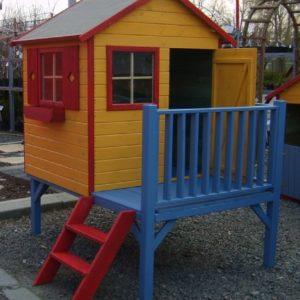 Baumotte-Spielhaus-Holz-Kinderspielhaus-Donatello-mit-Rutsche-Stelzenhaus-0-0