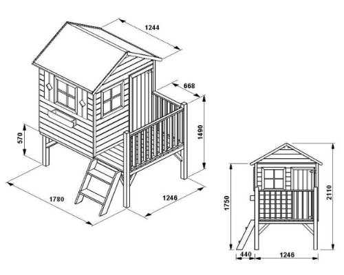 baumotte spielhaus holz kinderspielhaus donatello mit. Black Bedroom Furniture Sets. Home Design Ideas
