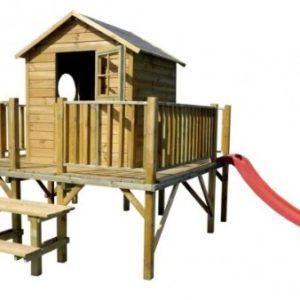 Baumotte-Spielhaus-Holz-Kinderspielhaus-Ernie-mit-Rutsche-Stelzenhaus-0-0