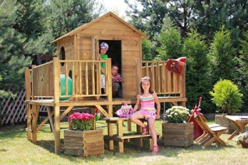 baumotte spielhaus holz kinderspielhaus ernie mit rutsche stelzenhaus spielhaus. Black Bedroom Furniture Sets. Home Design Ideas