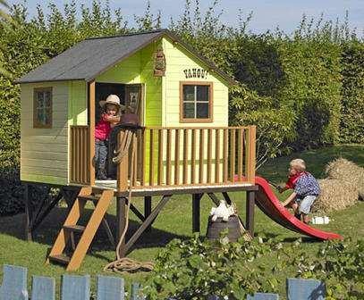 baumotte spielhaus holz kinderspielhaus max mit rutsche stelzenhaus spielhaus. Black Bedroom Furniture Sets. Home Design Ideas