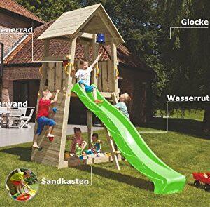 Blue-Rabbit-20-Spielturm-BELVEDERE-mit-Rutsche-Kletterturm-mit-Kletterwand-Glocke-Sandkasten-Lenkrad-und-Holzdach-0-0