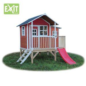 EXIT-Loft-350-rotbraun-Spielhuschen-auf-Stelzen-mit-VerandaRutsche-Material-Zedernholz-Mae-170-cm-x-171-cm-x-225-cm-146-kg-3-0-0