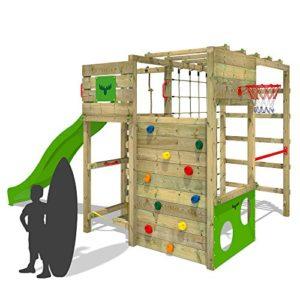 FATMOOSE-Klettergerst-FitFrame-Fresh-XXL-Kletterturm-Spielturm-fr-den-Garten-mit-Wackelbrett-verschiedenen-Kletterleitern-Kletternetz-und-apfelgrner-Rutsche-0