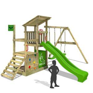 FATMOOSE-Klettergerst-FruityForest-Fun-XXL-Spielturm-Kletterturm-Beach-House-auf-3-Ebenen-schrgem-Holzdach-Schaukel-mit-2-Sitzen-Rutsche-und-viel-Zubehr-0