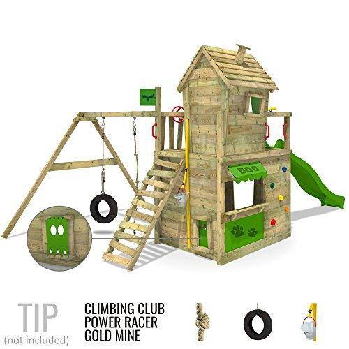 fatmoose kletterturm crazycat spielturm spielhaus f r kinder mit schaukel rutsche und. Black Bedroom Furniture Sets. Home Design Ideas