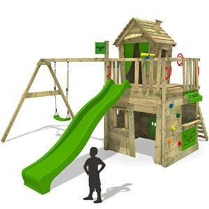 FATMOOSE-Kletterturm-CrazyCat-Spielturm-Spielhaus-fr-Kinder-mit-Schaukel-Rutsche-und-Kletterwand-0
