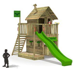 FATMOOSE-Kletterturm-RebelRacer-Spielturm-Baumhaus-Spielgert-Garten-mit-apfelgrner-Rutsche-0-0