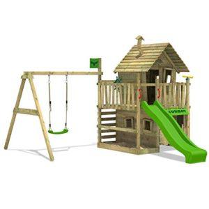 FATMOOSE-Spielhaus-CountryCow-Maxi-XXL-Spielturm-Baumhaus-mit-Rutsche-Schaukel-Sandkasten-und-Veranda-0-0