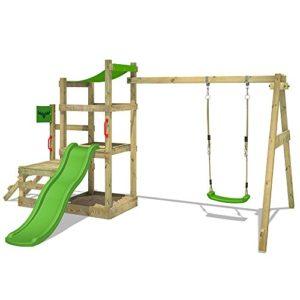 FATMOOSE-Spielhaus-RabbitRally-Racer-XXL-Spielturm-Holz-mit-3-Ebenen-Rutsche-Schaukel-Sandkasten-0-0