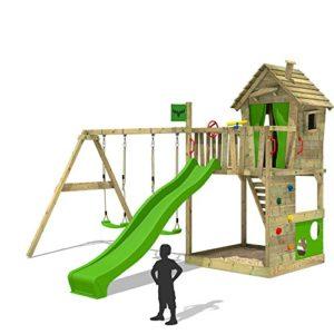 FATMOOSE-Spielturm-HappyHome-Hot-XXL-Baumhaus-Kletterturm-Klettergerst-Doppelschaukel-Rutsche-Sandkasten-Kletterwand-0