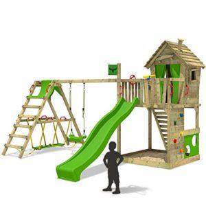 FATMOOSE-Spielturm-HappyHome-Hot-XXL-Stelzenhaus-Baumhaus-Klettergerst-mit-Schaukel-Surfanbau-und-Rutsche-0