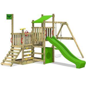 FATMOOSE-Spielturm-PowerPalm-Triple-XXL-Kletterturm-Baumhaus-Holz-Schaukel-Rutsche-Sandkasten-mit-3-Spielebenen-0-0