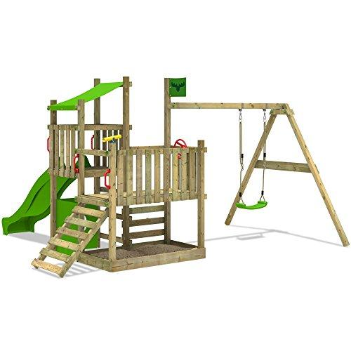 Fatmoose Spielturm Powerpalm Triple Xxl Kletterturm Baumhaus Holz Schaukel Rutsche Sandkasten Mit 3 Spielebenen