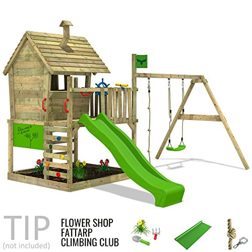 fatmoose spielturm wackyworld mega xxl kletterturm baumhaus holz mit schaukel und apfelgr ner. Black Bedroom Furniture Sets. Home Design Ideas