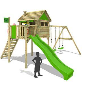 FATMOOSE-Stelzenhaus-FunFactory-Fit-XXL-Spielturm-Baumhaus-Spielhaus-mit-Schaukel-und-Rutsche-0