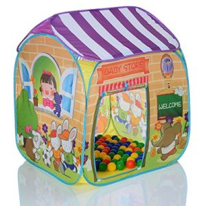 Kinder-Pop-Up-Spielzelt-MARKTSTAND-Bllebad-plus-100-Blle-0-0
