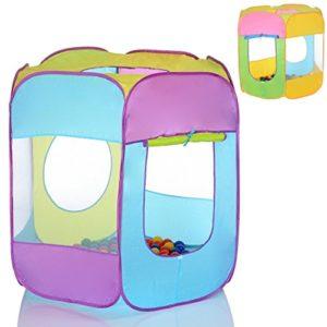 Kinder-Pop-Up-Spielzelt-als-6-Eck-Spielhaus-und-Bllebad-100-bunte-Blle-0-0