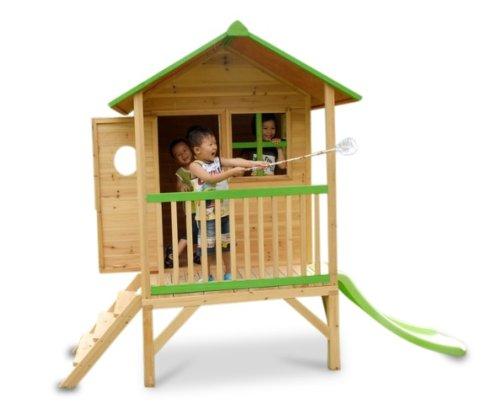 kinderspielhaus erik stelzenhaus aus holz mit roter rutsche spielhaus. Black Bedroom Furniture Sets. Home Design Ideas