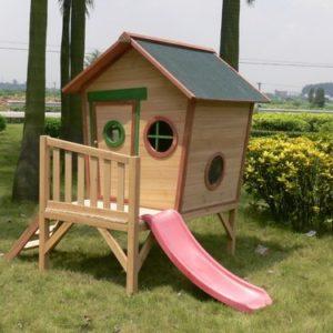 Kinderspielhaus-ROSI-Stelzenhaus-aus-Holz-mit-roter-Rutsche-0-0