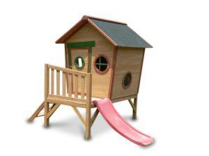 kinderspielhaus rosi stelzenhaus aus holz mit roter rutsche spielhaus. Black Bedroom Furniture Sets. Home Design Ideas