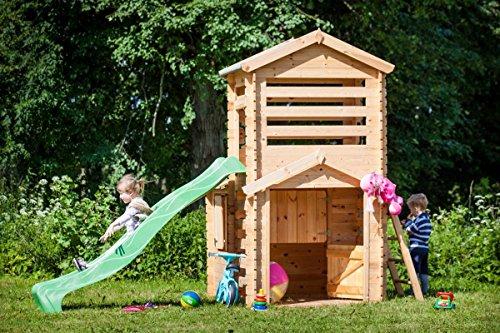 Fabulous Kinderspielhaus Thomas mit Turm und Rutsche -1,75 x 3,32 Meter aus  MH29