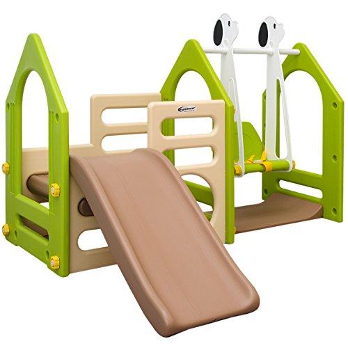 Favorit LittleTom Kinder Spielhaus mit Rutsche Schaukel 155 x 135 cm BD84