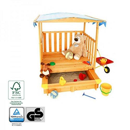 spielhaus mit sandkasten und dach t v gepr fte sicherheit holz fsc spielhaus. Black Bedroom Furniture Sets. Home Design Ideas