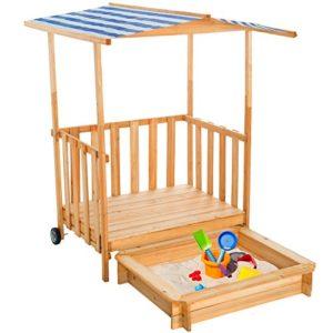 TecTake-Sandkasten-mit-Dach-Spielhaus-Spielveranda-Holz-Sonnenschutz-diverse-Farben-0-0