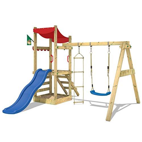 wickey spielturm funflyer spielhaus kletterturm mit schaukel sandkasten kletterleiter blaue. Black Bedroom Furniture Sets. Home Design Ideas