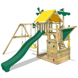 WICKEY-Kletterturm-Smart-Sail-Spielturm-Klettergerst-mit-verschiedenen-Podesthhen-Kletterwand-Sandkasten-grne-Rutsche-und-grn-gelbe-Plane-0
