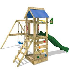 WICKEY-Spielturm-FreeFlyer-Kletterturm-mit-Rutsche-Schaukel-Sandkasten-Kletterwand-Sandkasten-0