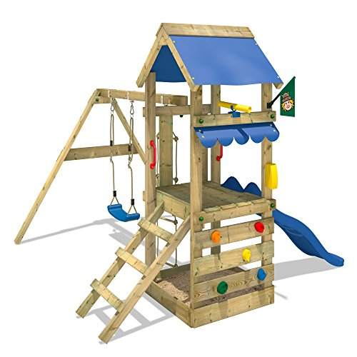 wickey spielturm freshflyer kletterturm mit sandkasten kletterwand strickleiter schaukel und. Black Bedroom Furniture Sets. Home Design Ideas