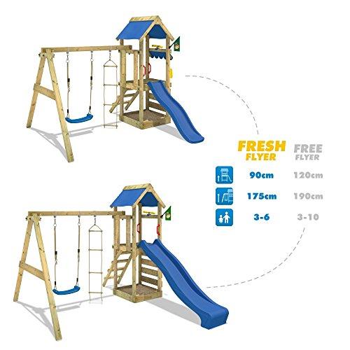 wickey spielturm freshflyer kletterturm mit sandkasten kletterwand strickleiter schaukel und. Black Bedroom Furniture Sets. Home Design Ideas