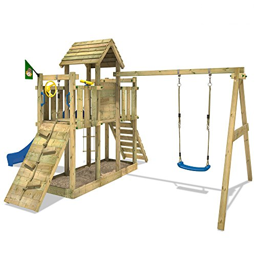 wickey spielturm little robin kletterturm mit schaukel und rutsche holzdach sandkasten blaue. Black Bedroom Furniture Sets. Home Design Ideas
