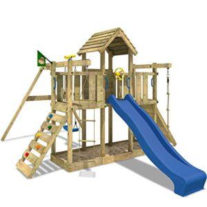 WICKEY-Spielturm-Little-Robin-Kletterturm-mit-Schaukel-und-Rutsche-Holzdach-Sandkasten-blaue-Rutsche-0