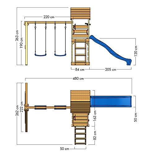 wickey spielturm multiflyer kletterturm mit holzdach spielplatz garten mit schaukel rutsche und. Black Bedroom Furniture Sets. Home Design Ideas