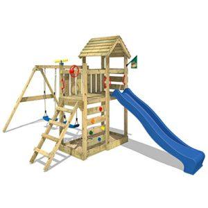 WICKEY-Spielturm-MultiFlyer-Kletterturm-mit-Holzdach-Spielplatz-Garten-mit-Schaukel-Rutsche-und-Kletterwand-blaue-Rutsche-0