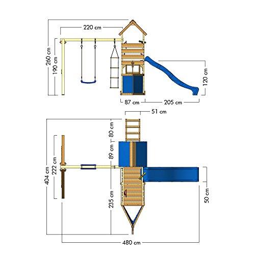 wickey spielturm oceanflyer kletterturm mit rutsche schaukel kletterwand und sandkasten blaue. Black Bedroom Furniture Sets. Home Design Ideas