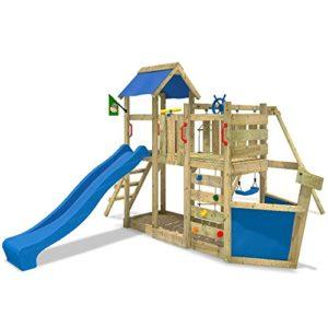 WICKEY-Spielturm-OceanFlyer-Kletterturm-mit-Rutsche-Schaukel-Kletterwand-und-Sandkasten-blaue-Rutsche-blaue-Plane-0