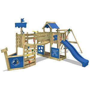 WICKEY-Spielturm-Schiff-ArcticFlyer-Kletterturm-in-Schiffsoptik-Klettergerst-mit-Schaukel-Rutsche-Strickleiter-und-zwei-Sandksten-blaue-Plane-blaue-Rutsche-0