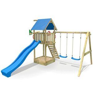 WICKEY-Spielturm-Smart-Empire-Kletterturm-Garten-mit-Rutsche-Doppelschaukel-und-Sandkasten-blaue-Rutsche-blaue-Plane-0