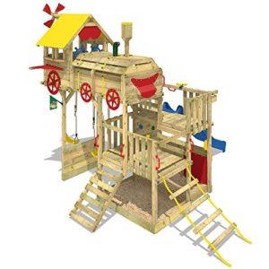 WICKEY-Spielturm-Smart-Express-Kletterturm-Zug-Spielgert-Holz-mit-Kletterleiter-Doppelschaukel-Sandkasten-blaue-Rutsche-Plane-rot-gelb-0-0