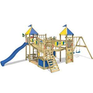 WICKEY-Spielturm-Smart-King-Spielplatz-Holz-Kletterturm-mit-Schaukel-Rutsche-und-Kletterwand-blaue-Rutsche-blau-gelbe-Plane-0
