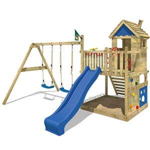 WICKEY-Spielturm-Smart-Lodge-Kletterturm-Baumhaus-Garten-mit-Spielhaus-Doppelschaukel-groem-Sandkasten-Kletterwand-blaue-Rutsche-0-0