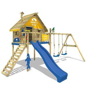 WICKEY-Spielturm-Smart-Sky-Stelzenhaus-Baumhaus-Kletterturm-aus-Holz-mit-Doppelschaukel-Holzdach-und-Rutsche-0