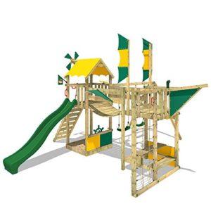 WICKEY-Spielturm-Smart-Wing-Kletterturm-Spielplatz-Luftschiff-mit-Segeln-und-Propeller-Kletternetz-Sandkasten-grne-Rutsche-gelb-grne-Plane-0-0
