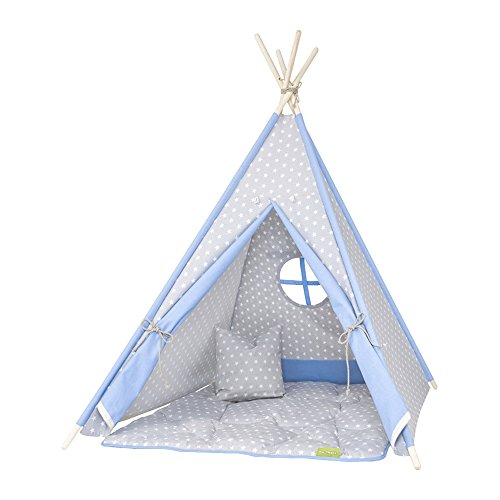 my-teepee MT01gr Spielzelt für Kinder, Tipi, Made in Germany, 10 ...